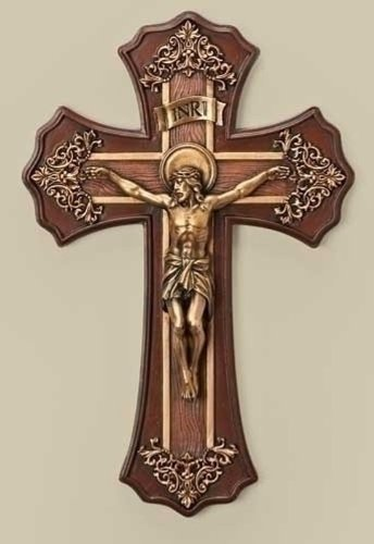 Roman 10.25 Victorian Style Oak and Antique Gold Finish Crucifix Wall Cross