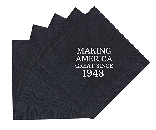 70th Birthday Gifts Making America Great Since 1948 70th Birthday Party Supplies 50 Pack 5x5'' Party Napkins Cocktail Napkins Black by ThisWear (Image #2)