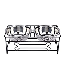 VIVIKO Bone Style Pet Feeder for Dog Cat, Stainless Steel Food and Water Bowls with Iron Stand (Large)
