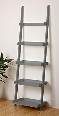 Esta estantería de 5 baldas azul o gris inclinada hacia la pared en forma de escalera para tus CD, flores, vinos...: Amazon.es: Hogar