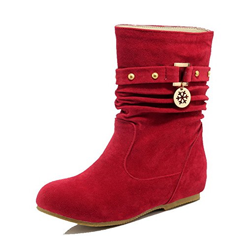 AgooLar Women's Solid PU Low-Heels Pull-On Round-Toe Boots Red 6AjEt0