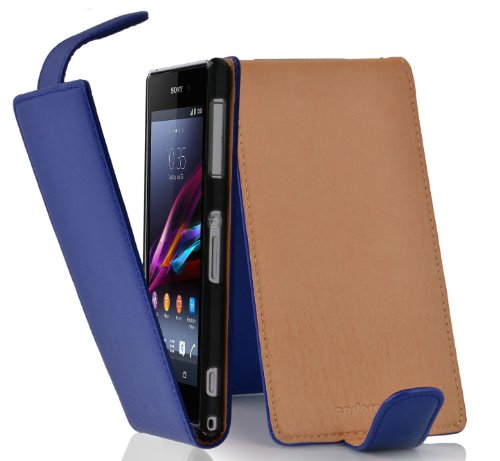 Cadorabo – Flip Style Case for Sony Xperia Z1 COMPACT / MINI (L39H) – Shell Etui Cover Protection Skin in NAVY-BLUE