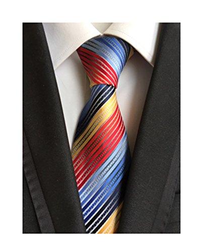 MENDENG Striped Silk Woven Classic Check Man's Business Tie Necktie Wedding Ties, Rainbow, One - Tie Striped Multi