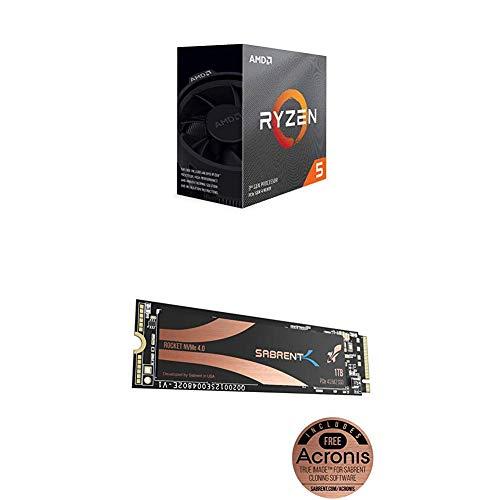 AMD Ryzen 5 3600 6-Core, 12-Thread Unlocked Desktop Processor with Sabrent 1TB Rocket NVMe 4.0 Gen4 PCIe M.2 Internal SSD