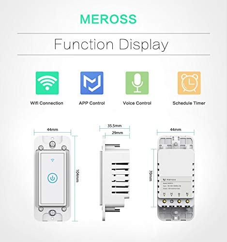 meross Smart Light Switch,Wi-Fi Wall Light Switch,Compatible with  Alexa,Google Home and IFTTT,with Remote Control and Timer,No Hub required,
