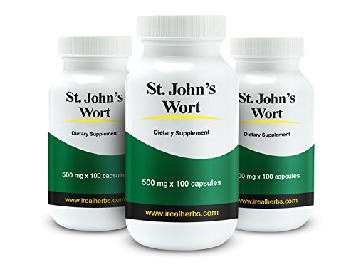 15% Off 3 Bottles of Real Herbs St Johns Wort Standardized to 0.3% Hypericin 500mg – Herb Supplement for Positive Thoughts – Vegan Capsules an alternative to Pills & Tablets – 300 Vegetarian Capsules For Sale