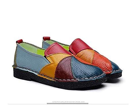 Qiusa Cuir Femmes Chaussures de Conduite Molles color/é : Vert, Taille : EU 36