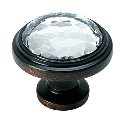 """Cosmas 5317ORB-C Oil Rubbed Bronze Cabinet Hardware Round Knob with Clear Glass - 1-1/4"""" Diameter"""