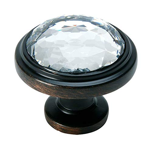 Cosmas 5317ORB-C Oil Rubbed Bronze Cabinet Hardware Round Knob with Clear Glass - 1-1/4