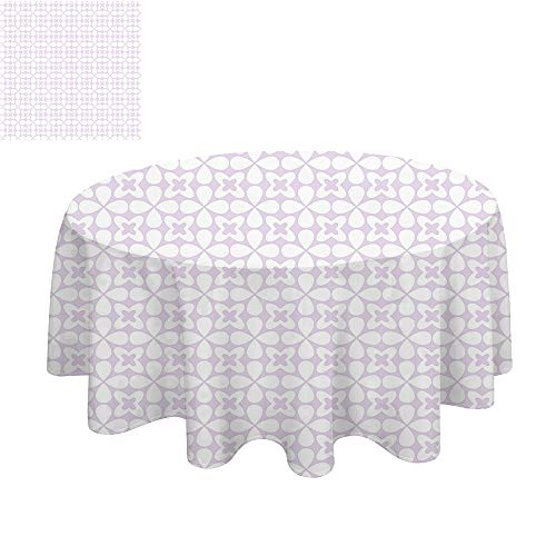 (SATVSHOP Modern tablecloth-40Inch-Indoor or Outdoor Party.Floral Scattered Small Spring Blossoms Pattern Wild Flowers Dign Nature Baby Blue and White. )