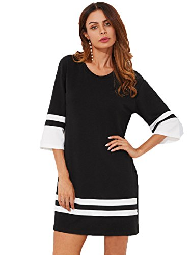 Washed Velvet Dress In Black (Floerns Women's Short Casual Hem Tee Shift T-Shirt Dress Black M)