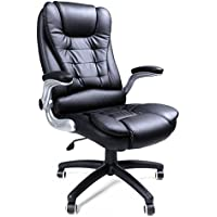 SONGMICS Office Chair with Thick Seat and Adjustable Armrest Tilt Function Executive Swivel Computer Chair PU Black UOBG51B