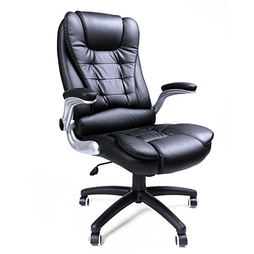 SONGMICS Big & Tall Office Chair with High Back Thick Seat and Adjustable Armrest Tilt Function Executive Swivel Computer Chair PU Black (Big Tall Office Chairs)