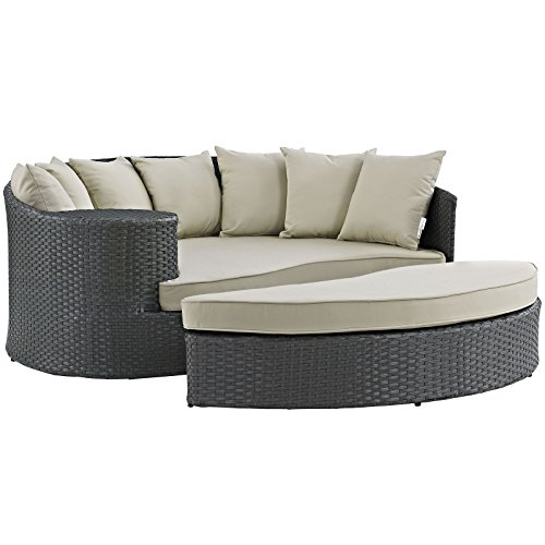 Modway Sojourn Outdoor Patio Rattan Daybed With Sunbrella Brand Antique Beige Canvas Cushions (Cushions Sunbrella Beige Antique)