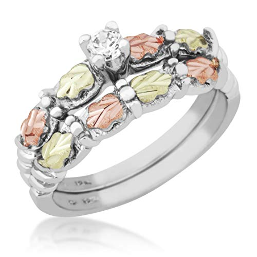 Black Hills Silver Womens Wedding Set with 12k Gold Leaves