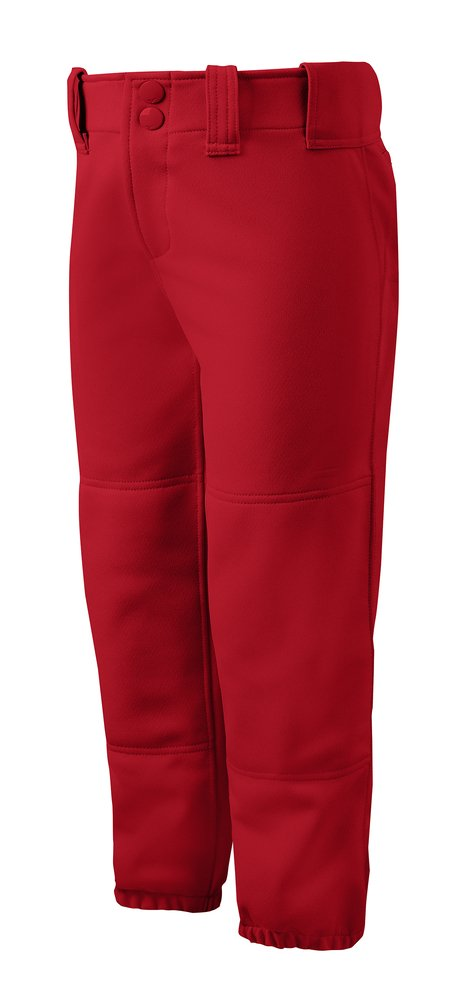 Mizuno Adult Women's Belted Low Rise Fastpitch Softball Pant, Red, X-Small