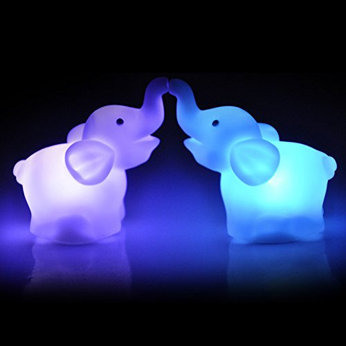 Gbell 2Pcs Cute Elephant LED Night Light for Toddlers Girl Boy Kids Gifts,Baby Nursery Room Decor, Bedside Lamp,7 Colours Changing Party Lamp,for Birthday,Party, Christmas,Holiday,Bars,Cafes (White) -