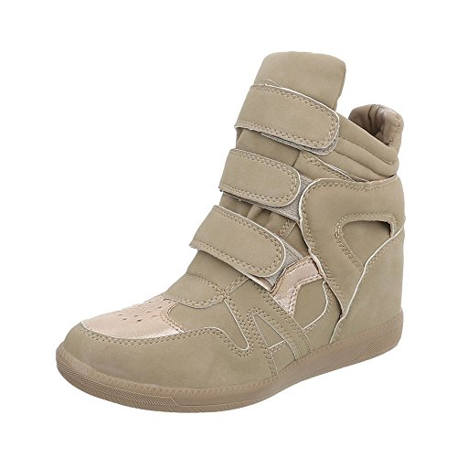 Ital-Design Sneakers High Damenschuhe Keilabsatz/Wedge Keilabsatz Klettverschluss Freizeitschuhe Beige Grau LS3001