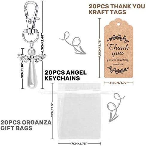 Guardian Angel 25 Piece with Star White 3,2cm Beads Angel Wedding Baptism Pendant