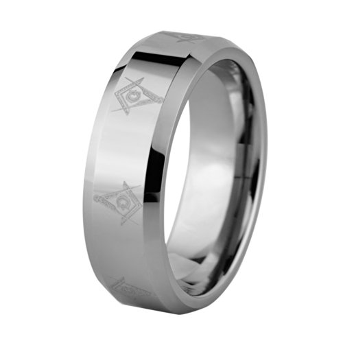 8mm Laser Etched Masonic Symbol Solid Tungsten Carbide Wedding Band Size 4 (Carbide Solid Tungsten Laser Ring)