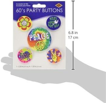 60s Party Buttons asstd designs 5//Pkg