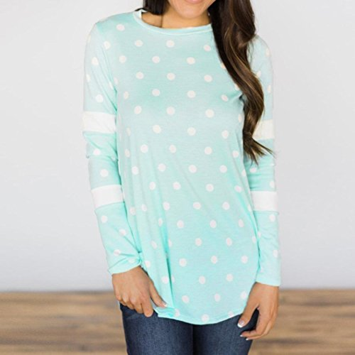 Amazon.com: SRYSHKR Women Casual Loose Print Dot Long Sleeve O-Neck T Shirts Tops Blouse: Clothing