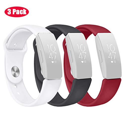 (Cywulin for Fitbit Inspire and Inspire HR Sport Band, Soft Silicone Replacement Quick Release Breathable Wrist Strap Loop Accessories Small Large Fitness Tracker Smart Watch Women Men (Small, 3PCs))
