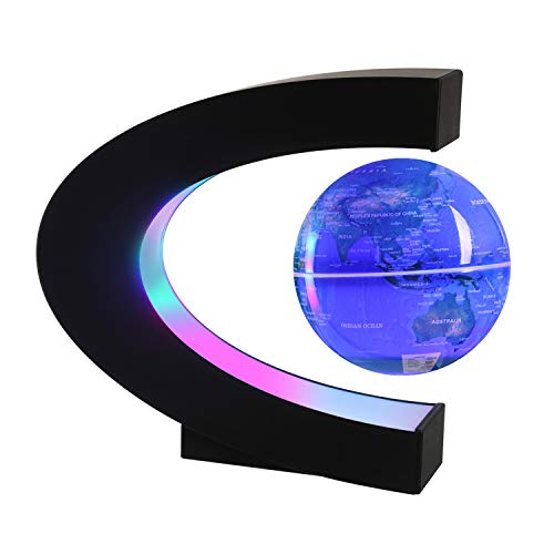 Magnetic Levitating Globe with LED Light, 3'' C Shape Base Floating Globes, Rotating World Map, Cool Tech Gift for Men Father Boys, Birthday Gifts for Kids, Desk Gadget Decor in Office Home (Blue 1)