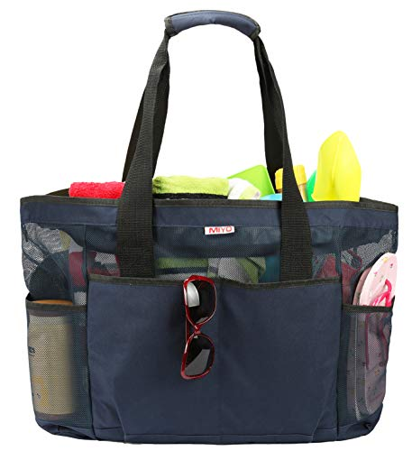 Mesh Beach Bag -Extra Large Beach Tote Bag - Grocery & Picnic Tote Travel Bags Dark-blue