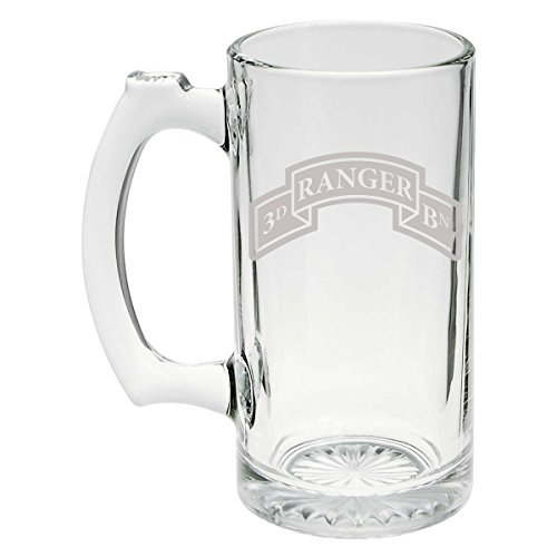 (US Army - 3rd Ranger Battalion SSI Patch Etched Stein Glass 25oz,)