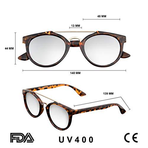 Emblem Eyewear - Vintage Inspired Dapper Cross Bar Flash Mirror Lens Sunglasses