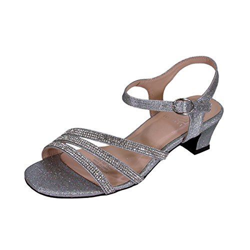 Floral Jenna Women Extra Wide Width Glittery Rhinestone Upper Straps Party Heeled Slingback Sandals Silver ()