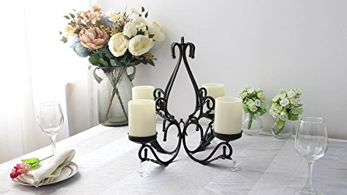 GiveU 3 IN 1 Lighting Chandelier, Metal Wall Sconce Set of 2, Table Centerpiece for Indoor or Outdoor, Chain and Candles Included, Black by GiveU (Image #5)