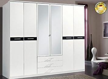 Schön Kleiderschrank Schlafzimmerschrank 870760 2 (194) Weiß / Schwarz 6 Türig  270 Cm