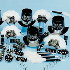 - Windy City Novelties Silver Grand New Years Party Kit for 50