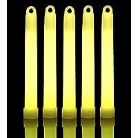 Lumistick Glow Sticks de 6 pulgadas Luces químicas con fondo plano | Barras de brillo industrial de grado premium de 15 mm | No Tóxico Ideal para eventos, fiestas, campamentos y más (Amarillo, 25)