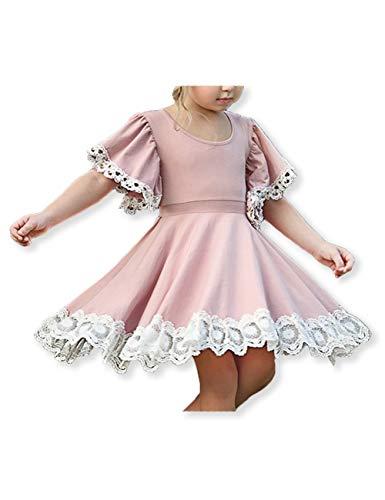 Spring Summer Girls Twirl Lace Flower Dresses Trumpet Sleeve Little Princess Sundress for Kids Pink