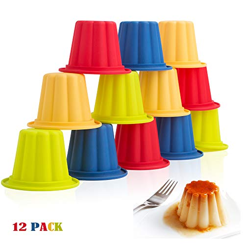 Webake Jello Shot Cups Silicone Popover Pan Pudding Baking Cup Nonstick Muffin Cupcake Liner 12 Pack