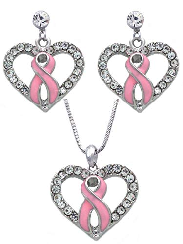 cocojewelry Pink Ribbon Breast Cancer Awareness Boxing Glove Heart Necklace Earrings Set (Clear Heart Clear Post Set) ()
