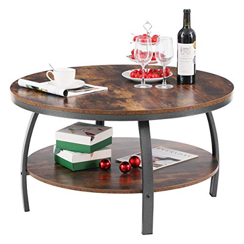 GreenForest 35.4 Inch Round Coffee Table Large Size Industrial Design for Living Room with Storage Shelf Metal Legs Sofa Table Center Table, Rustic Brown