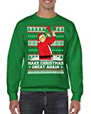 SpiritForged Apparel Make Christmas Great Again Trump Crewneck Sweater, Kelly Small
