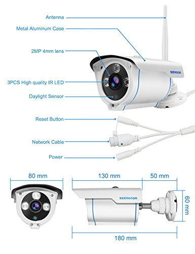 WIFI Camera Outdoor,SZSINOCAM Wireless Security Camera, Waterproof