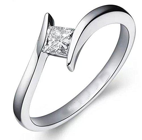 1,00 Carat solitario barato del diamante del anillo con corte de la princesa diamante