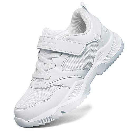 LakeRom Girls Shoes for Kids Boys Sneakers School Uniform White Shoes Casual Sport Shoes Give a Pair of Laces LRBX028-White-33