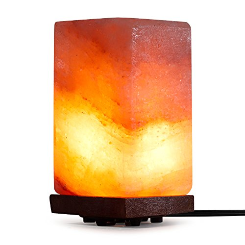 SMAGREHO Natural Himalayan Salt Lamp, Relieve Fatigue for office, Hand Carved Crystal Glow Rock Lamp Includes Neem Wood Base / Bulb, UL Listed On and Off function Dimmer Switch(Cube)