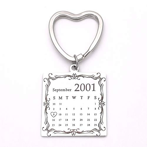 Custom Heart Key Chain Personalized Special Date Calendar Stainless Steel Keychain with Birthstone for Couples Family Best Friends Anniversary Gift Come with Gift Box (Silver 3)