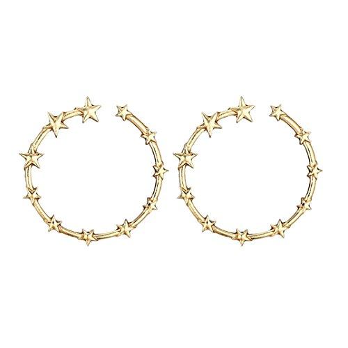 Hoop Earrings, ManxiVoo Women Big Circle with Star Stud Earrings Round Eardrop Jewellery (Gold)