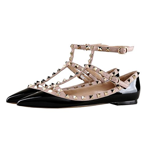 Patent Toe Daily black Fashion Women's Flats Shoes with Pointed Sexy Rivets Buckles Rockstud Ballet Double MERUMOTE A6HPqz