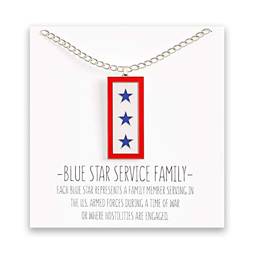 Happy Kisses Blue Star Service Flag Necklace - Blue Star Mom Pendant- One, Two & Three Stars - Message Card (Three Blue Stars)