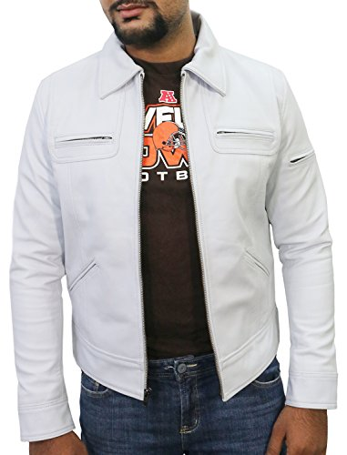 Laverapelle Men's White Genuine Lambskin Leather Jacket - 1510200-5XL